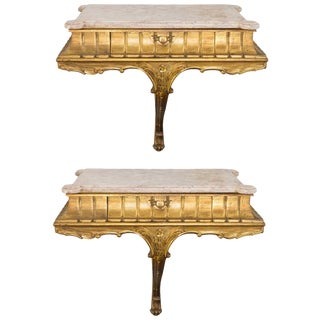 Pair of 1940s Italian Giltwood and Marble Wall Consoles For Sale