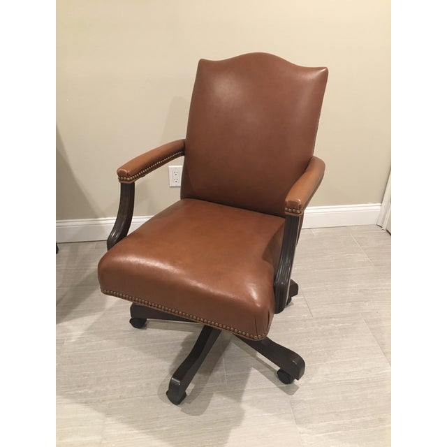 Traditional Ethan Allen Lee Leather Desk Chair For Sale - Image 3 of 7