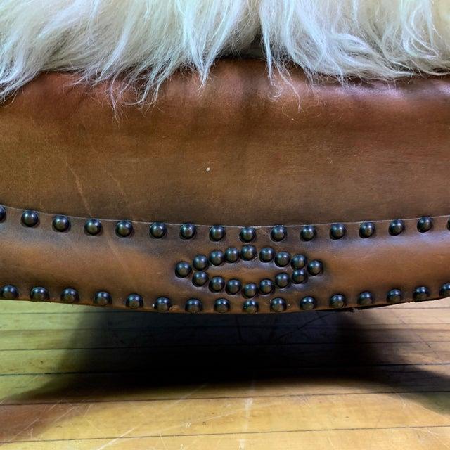 Animal Skin 1930s Otto Schulz Leather & Sheepskin Footstool, Boet, Sweden For Sale - Image 7 of 11