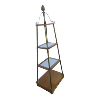 Mid Century Modern Marble Shelves Display Cabinet For Sale