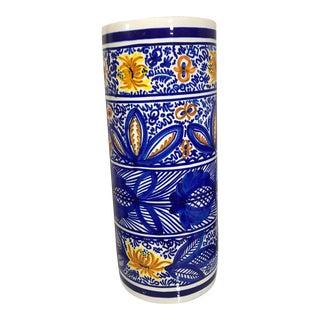 20th Century Boho Chic Hand Painted Spanish Umbrella Stand / Holder Floor Vase For Sale