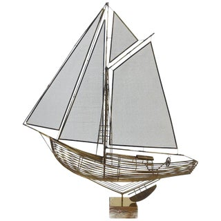 1970s Brass Sailboat Sculpture by Curtis Jere For Sale