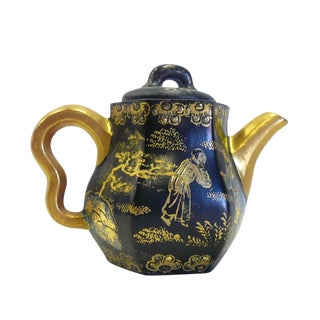 Chinese Black & Gold Zisha Clay Teapot