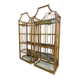 Rattan Pagoda Style Etageres, a Pair For Sale