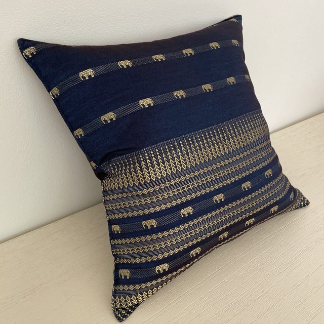 Boho Chic Blue Thai Silk Pillow With Elephant Motif For Sale - Image 3 of 13