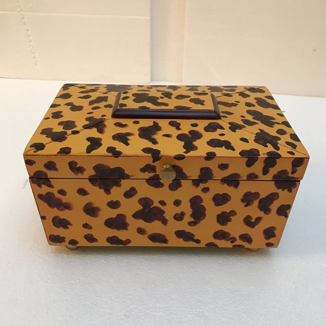 Decorative Animal Print Wooden Box For Sale - Image 9 of 9