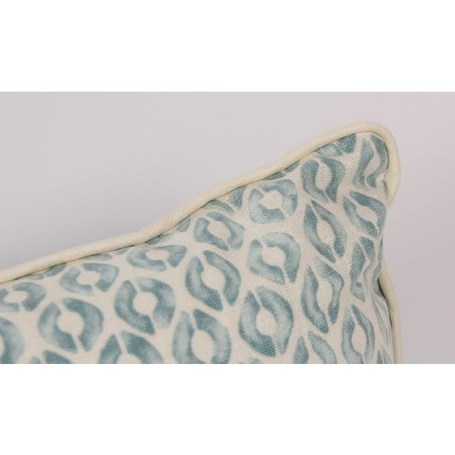 2010s Seafoam Linen Ogee Blocked Lumbar Pillows, a Pair For Sale - Image 5 of 6