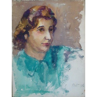 1930s Painting Watercolor Portrait of Woman in Blue For Sale