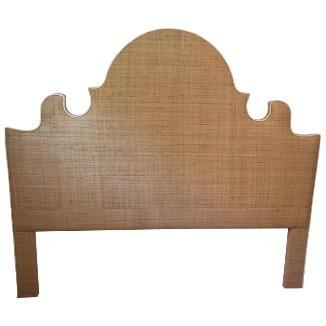 Raffia Cal-King Headboard with White Piping - Image 1 of 6