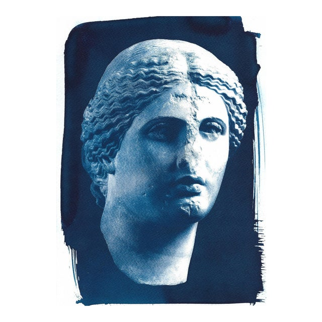Roman Woman Bust Sculpture, Cyanotype, A4 size (Limited Edition) For Sale