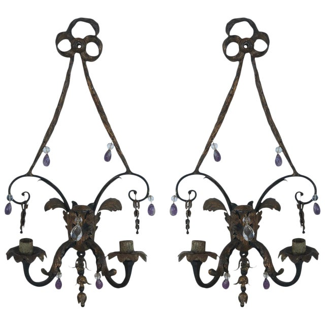 19th Century French Rock Crystal and Amethyst Sconces - a Pair For Sale
