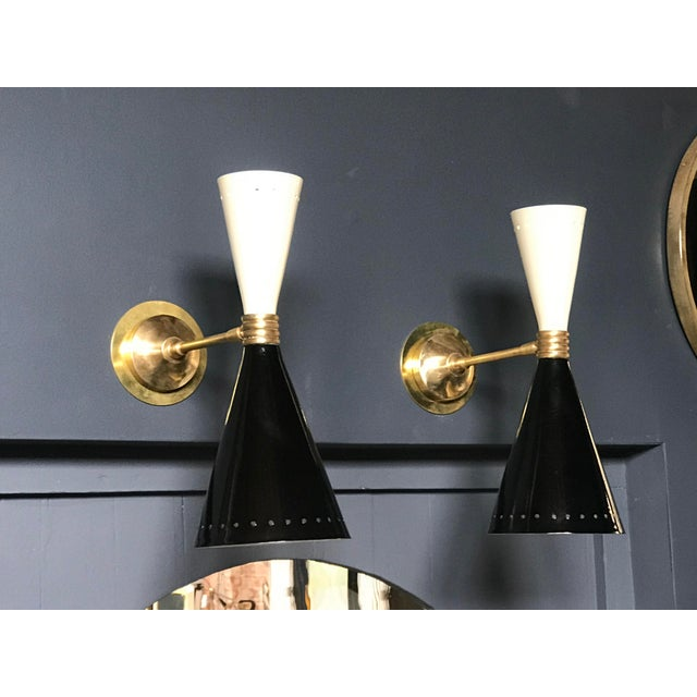 1960s Italian Black and White Brass Sconces - a Pair For Sale - Image 9 of 9
