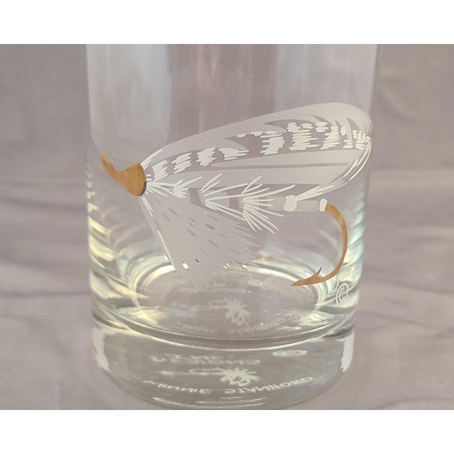 Set 4 New Old Stock Winnie Staniford Designs Gold Rimmed Fly Fishing Rocks Glasses For Sale In New York - Image 6 of 9