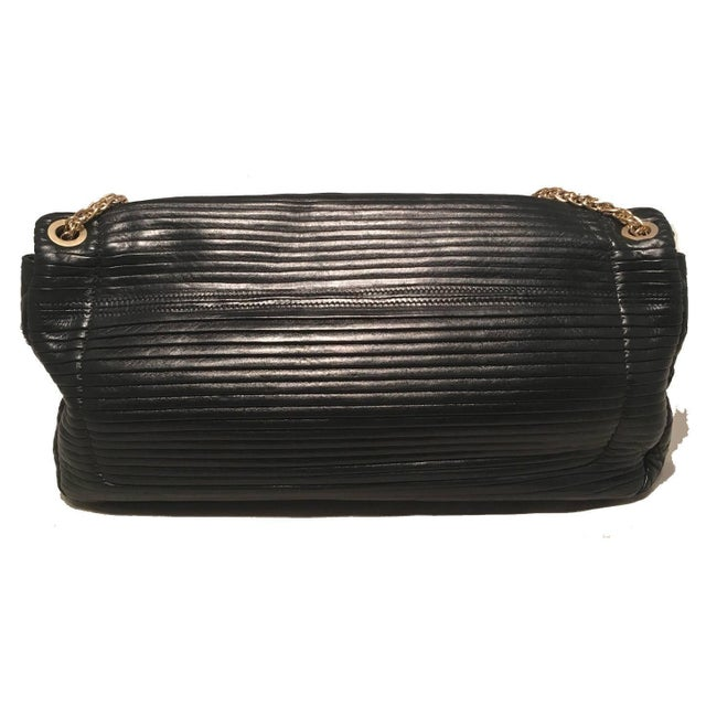 0c320b2fe8fc Contemporary Chanel Black Pleated Leather Classic Flap Shoulder Bag For Sale  - Image 3 of 8