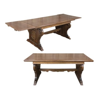Antique Italian Baroque Inlaid Walnut Draw Leaf Dining Table For Sale