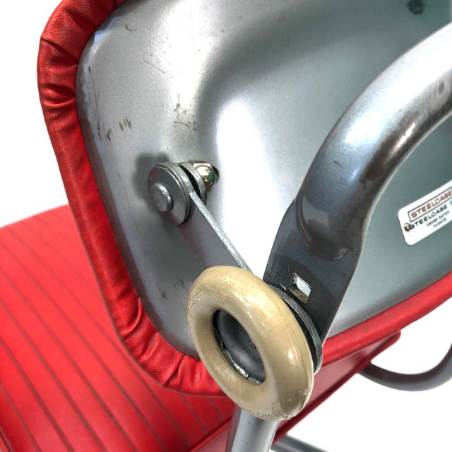 Tanker Steelcase Machine Age Industrial Little Red Desk Chair For Sale In Dallas - Image 6 of 9