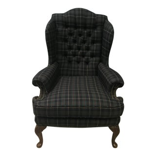 Wool Plaid Wingback Chair