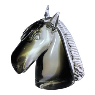 1970s Vintage Murano Glass Horse Head Signed Sculpture For Sale