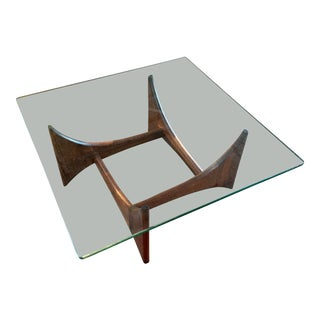 Adrian Pearsall Sculptural Walnut and Glass Coffee Table For Sale