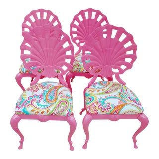 Pink Brown Jorden Grotto Shell Back Wrought Iron Chairs - Set of 4