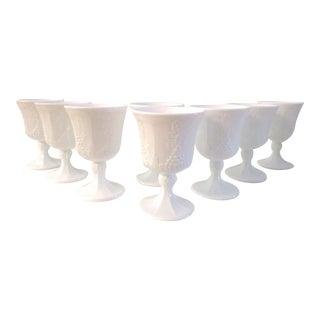 Mid-Century Harvest Grape Milk Glass Goblets, S/8 For Sale