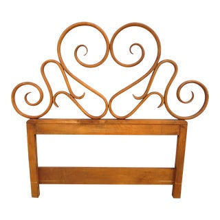 Antique Art Nouveau Bent Wood Twin Size Headboard For Sale
