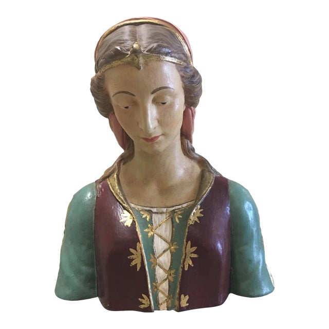Hand Painted Paper Mache Female Bust For Sale