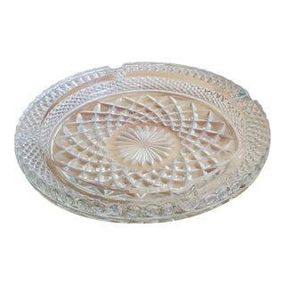 Vintage Clear Pressed Glass Ashtray For Sale