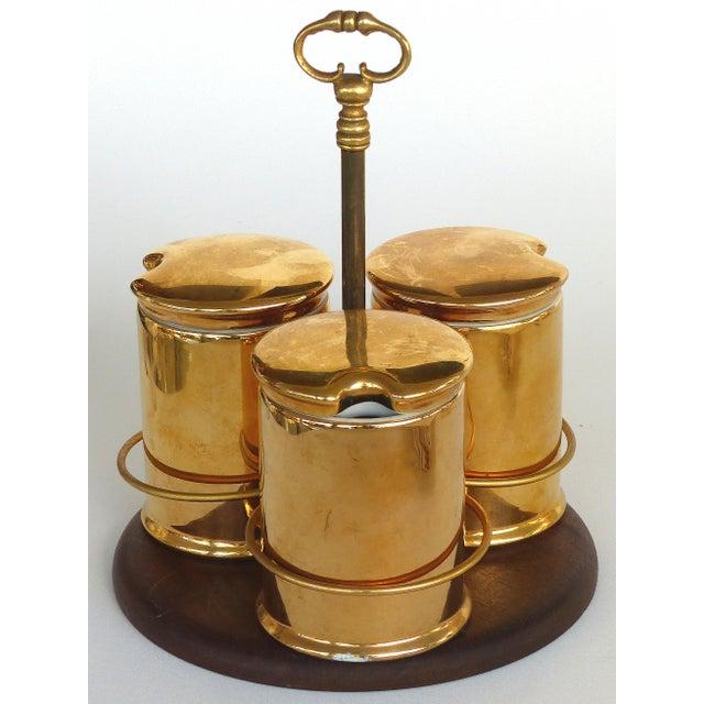 Gold Porcelaine De Paris Gold Lustre Lidded Condiment Jars & Stand For Sale - Image 8 of 8