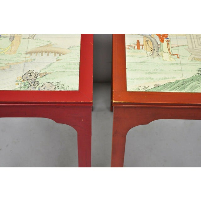 Mid 20th Century Vintage Oriental Ming Style Red Wooden Side End Tables With Tile Tops - A Pair For Sale - Image 5 of 11