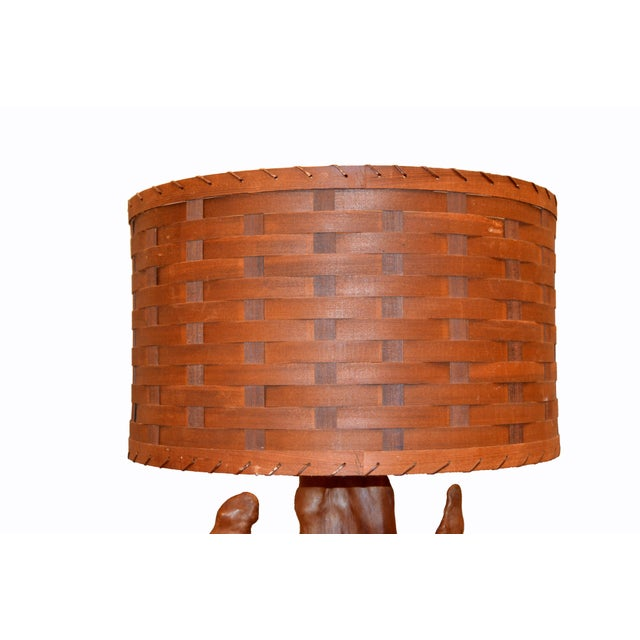 Organic Modern Sculptural Driftwood Table Lamp & Woven Basket Shade Walnut Base For Sale In Miami - Image 6 of 10