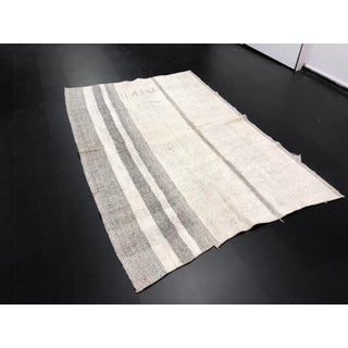 1960s Vintage Natural Wool Turkish Handwoven Anatolian Aztec Floor Rug- 5′4″ × 8′2″ Preview