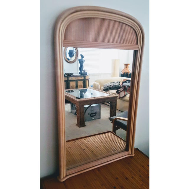 Tan Gabriella Crespi Style Rattan Framed Arch Shaped Wall Mirror For Sale - Image 8 of 8