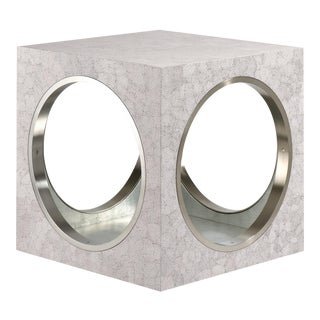 Circles & Squares Table Eggshell in Eggshell / Nickel - Steven Gambrel for The Lacquer Company For Sale