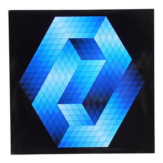 "Vintage Mid Century Abstract Op Art Heliogravure-Victor Vasarely-""Gestalt Bleu"" For Sale"