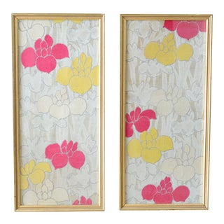 Floral Textile Wall Hangings - a Pair For Sale
