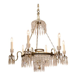 Regency Six Light Brass and Crystal Chandelier, Circa:1810, London For Sale
