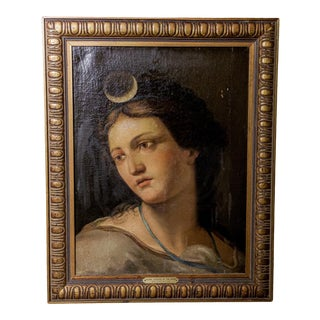 17th Century Grand Tour Style Italian School Portrait Painting of Diana the Huntress, Framed For Sale