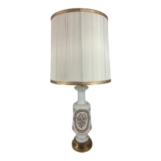 Vintage French Porcelain Hand Painted Gold Trim Table Lamp