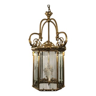 Antique French Bronze Lantern With Etched Beveled Glass, Circa 1890-1900.