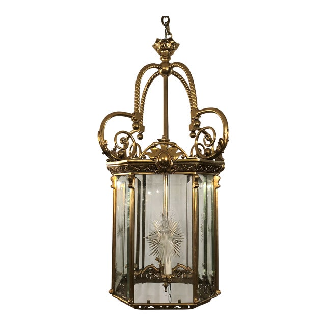 Antique French Bronze Lantern With Etched Beveled Glass, Circa 1890-1900. For Sale