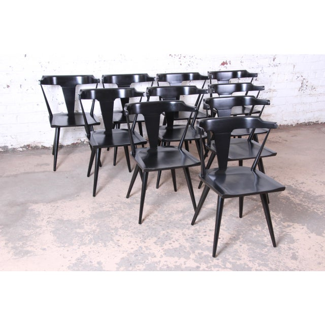 Contemporary Paul McCobb Planner Group T-Back Black Lacquered Solid Maple Dining Chairs, Set of Ten For Sale - Image 3 of 13