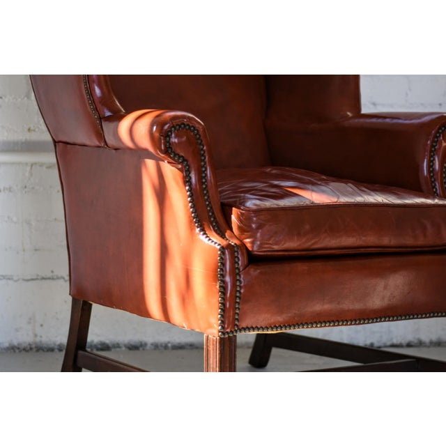 Vintage Marbled Red Leather Georgian H-Base Wingback Fireside Chairs - Pair For Sale - Image 9 of 13