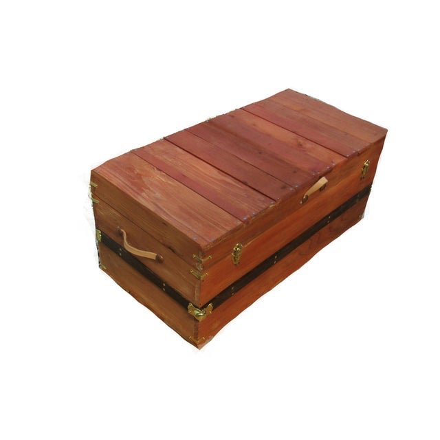 2010s Rustic Coffee Table Trunk in Chestnut Finish For Sale - Image 5 of 7