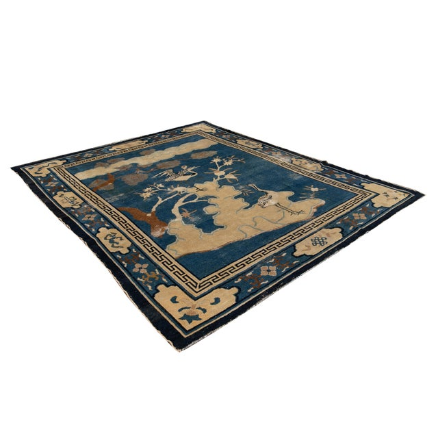Early 20th Century Antique Art Deco Chinese Peking Wool Rug For Sale - Image 12 of 13