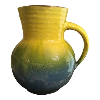 1990s London Liberty & Co Yellow & Blue English Pottery Pitcher For Sale