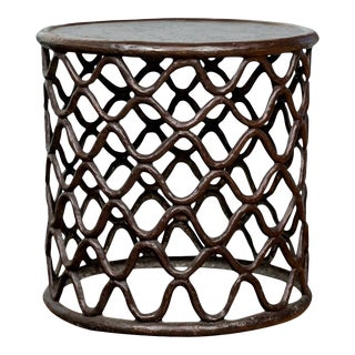 20th Century African Bronze Fretwork Side Table For Sale
