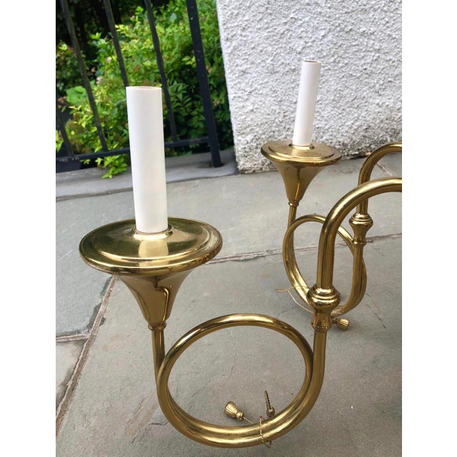 Mid-Century French Style Brass Hunting Horn 6-Light Chandelier For Sale - Image 4 of 8