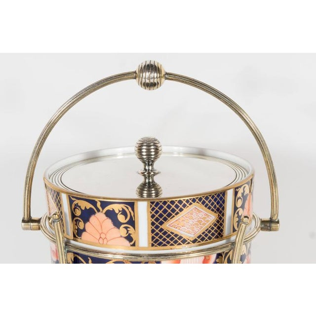 Antique English Biscuit Holder in Porcelain and Silver Plate by Spode For Sale In New York - Image 6 of 11