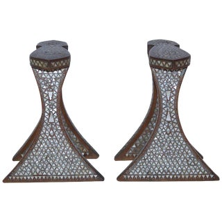 Pair of Syrian Footrest, Nacre and Wood, Circa 1900 For Sale